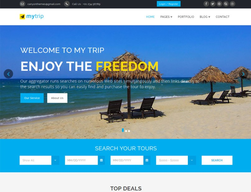 Mytrip Travel responsive HTML template available free on Template Sell