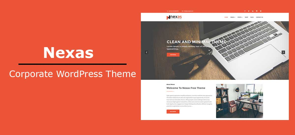 Wordpress Theme Template | Nexas Best And Free Corporate Wordpress Theme Template Sell