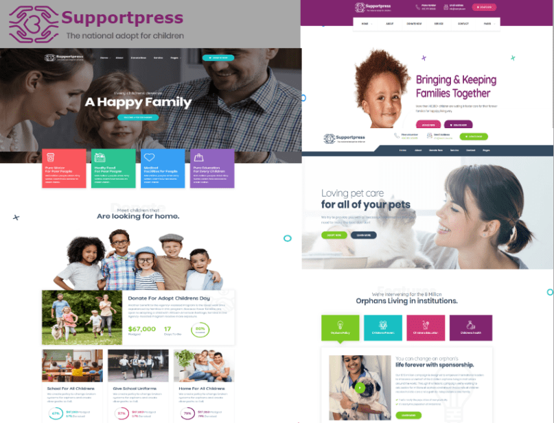 support press perfect for child pet adoption services and non profit organizations this template has 5 homepage styles 3 menu styles 3 footer styles