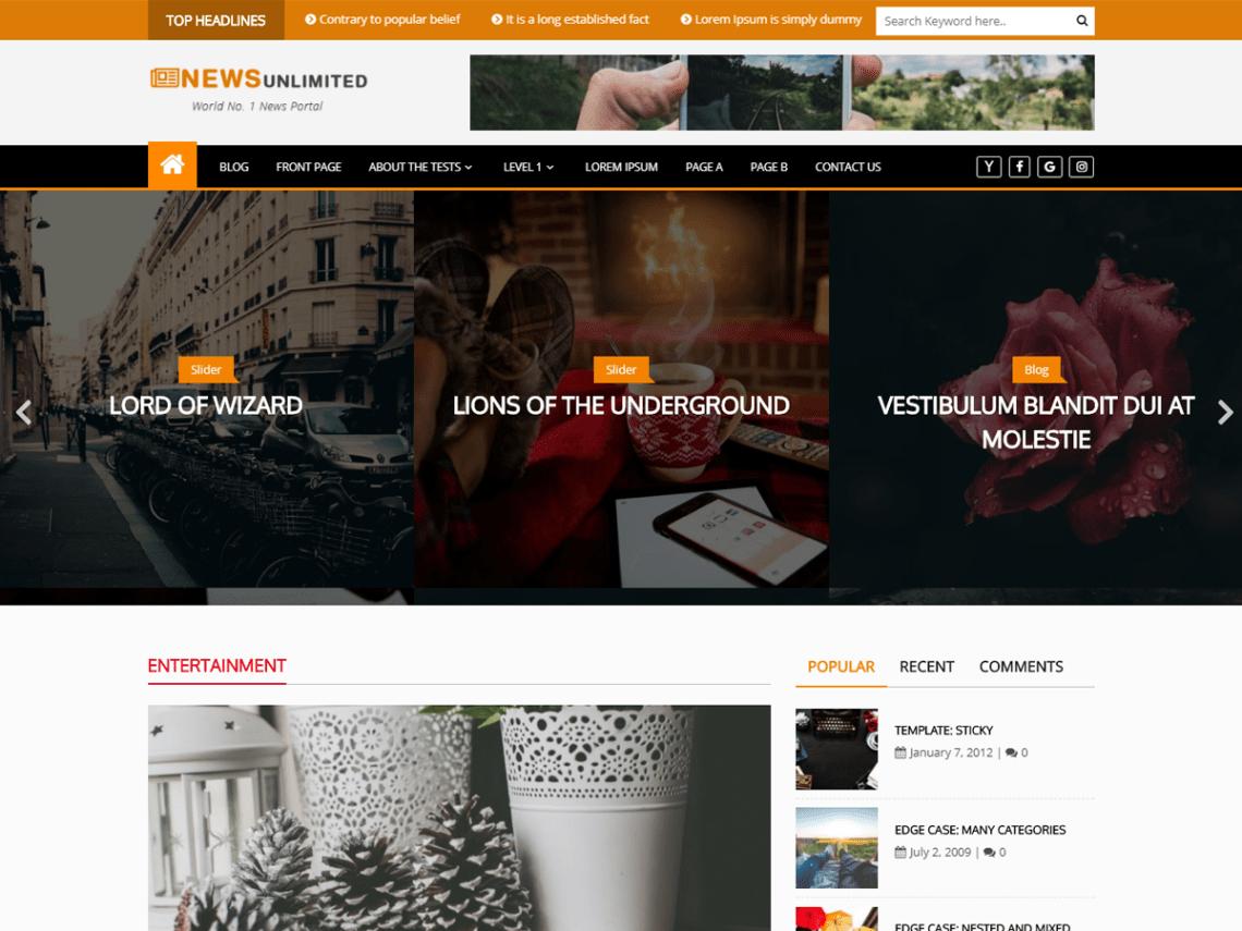 best magazine WordPress Theme - News Unlimited PRO.