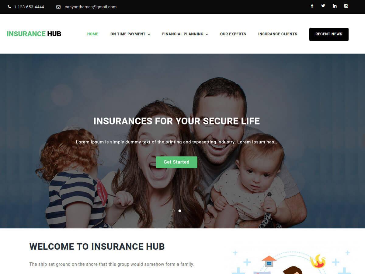 corporate WordPress themes insurance hub