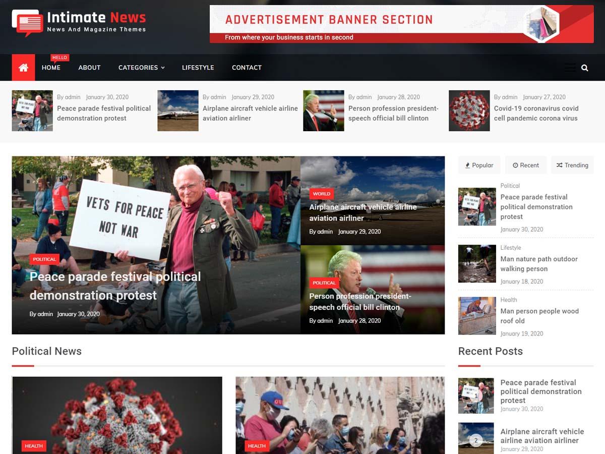 Intimate WordPress Magazine Theme