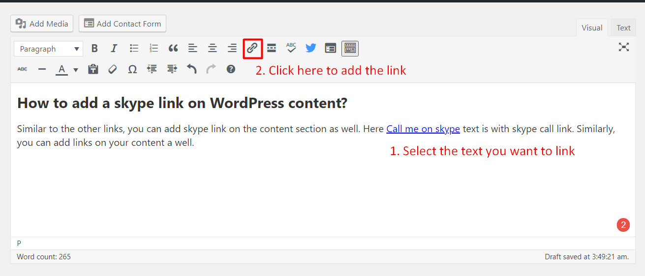 Skype links to WordPress
