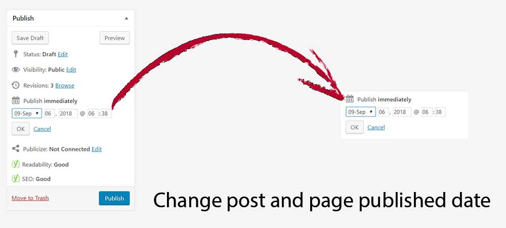 change post and page published date in WordPress