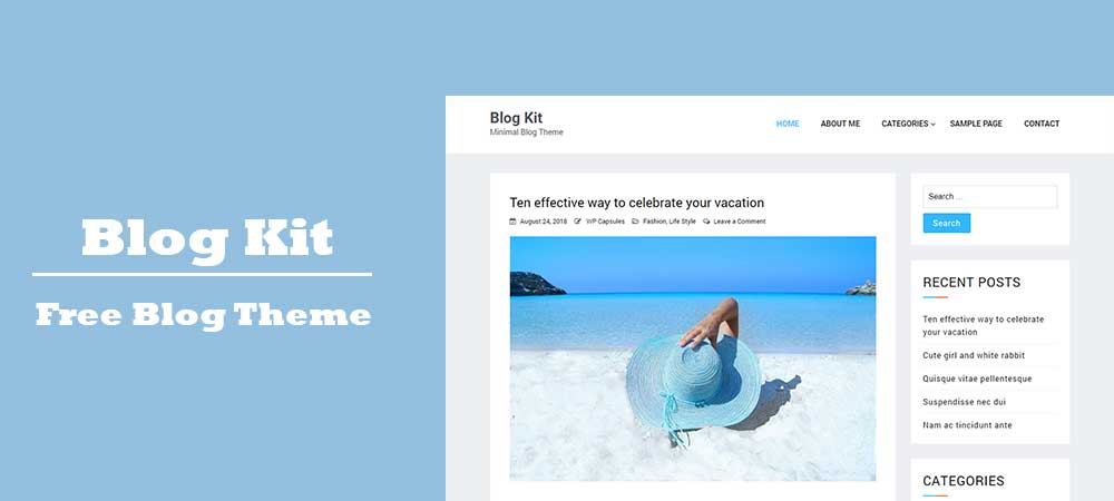 Blog Kit – Free and Best Minimal Elementor Compatible WordPress Blog Theme
