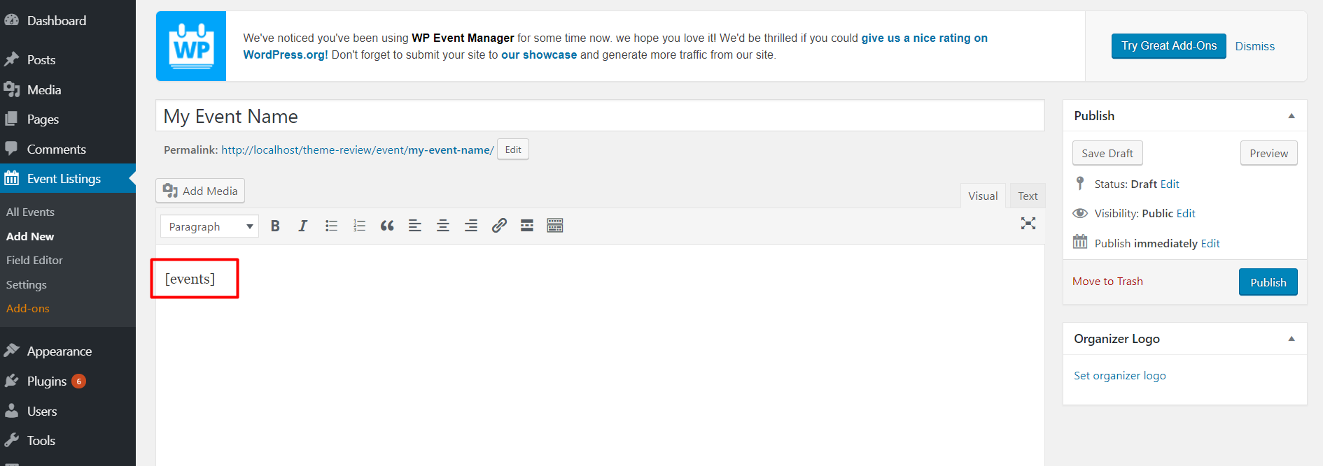 WordPress Event Management Plugin