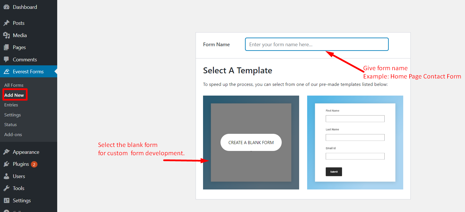 make a contact form in WordPress