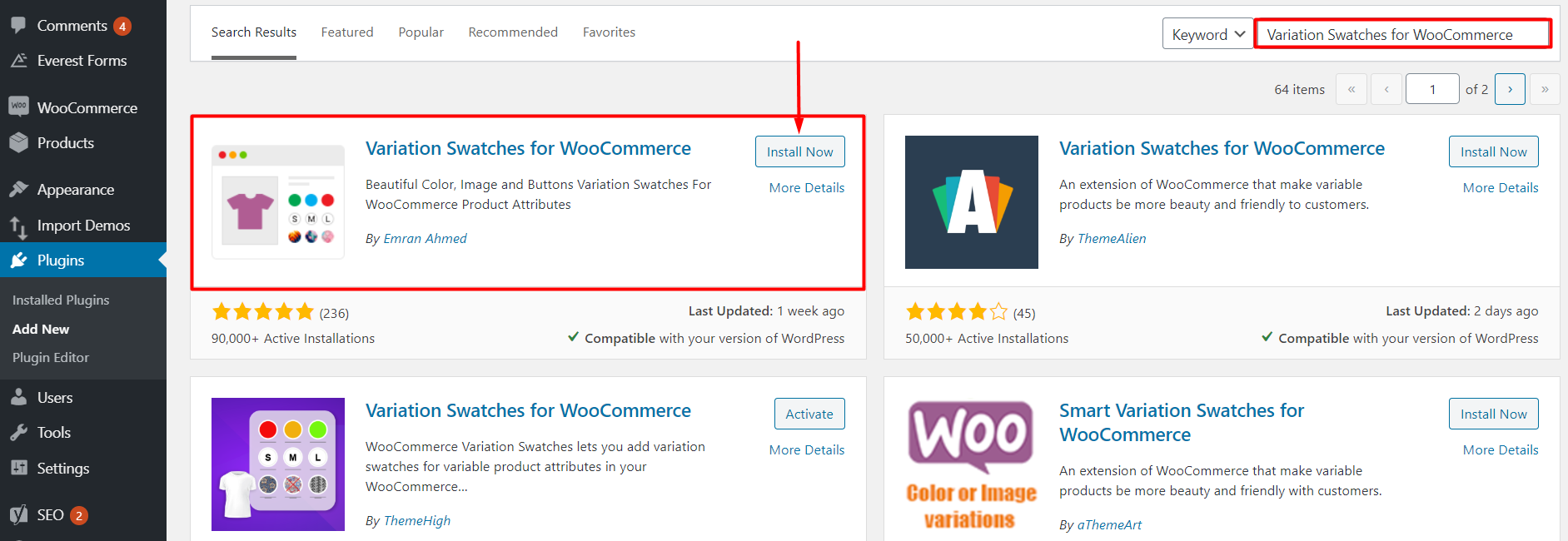 add image variation swatches in WooCommerce Product