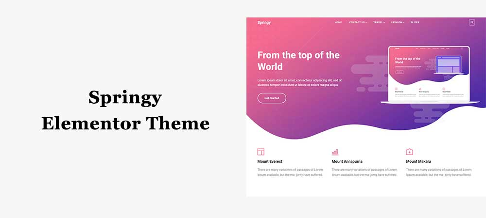 free elementor WordPress theme springy